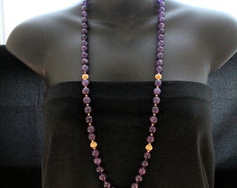 """Estate 14K Yellow Gold Genuine Amethyst Necklace 32"""" Long 493.5 Carats Total Weight CTW 99.63 Grams February Birthstone Dark Purple"""