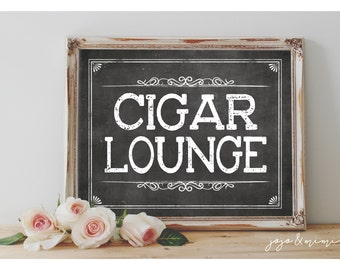 Instant 'CIGAR LOUNGE' Printable Event Sign Wedding Engagement Event Party Printable Chalkboard Cigars Size Options