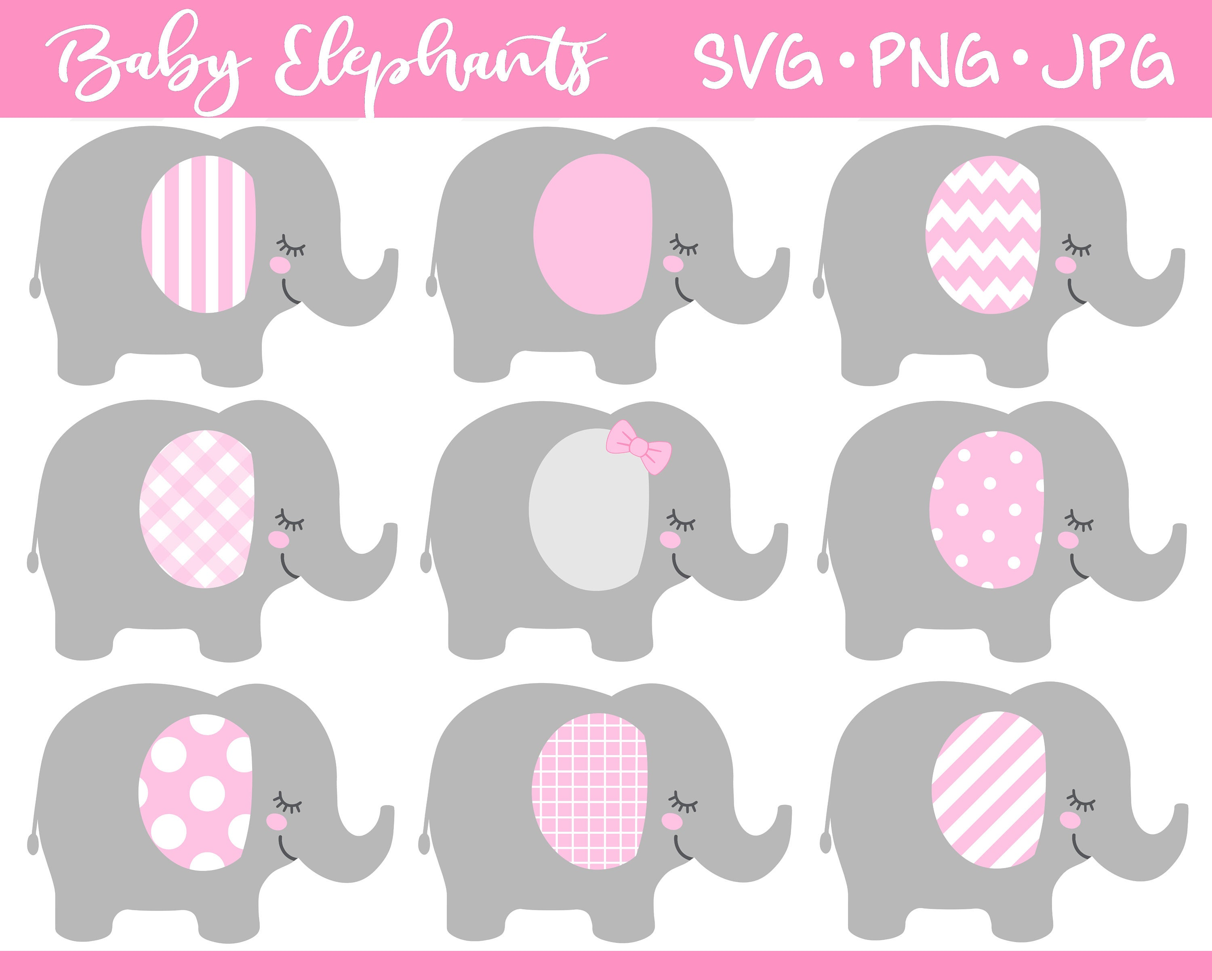 Baby Elephant SVG pink gray elephant clipart baby shower