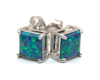 Galaxy Opal Princess Cut 2.5ct Solitaire Sterling Silver 4 Claw Stud Earrings (OP13)