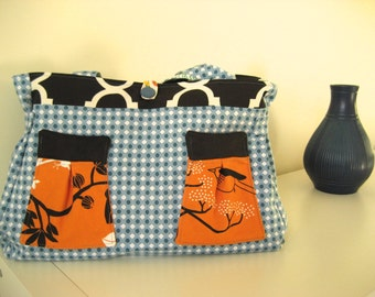 SALE Blue and white with orange bird pockets with green and white lining holdall handbag