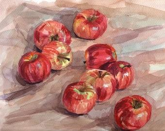 Apples Original Still life watercolor painting