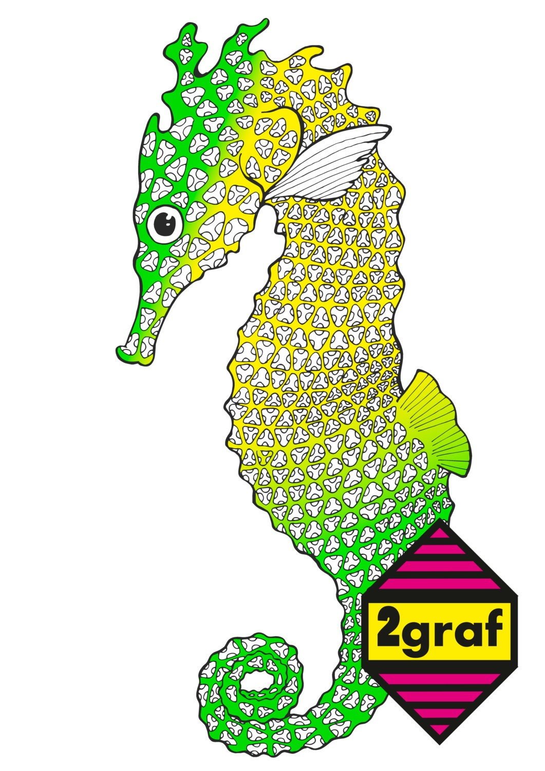 Adult coloring page SEAHORSE .Color therapyArt therapyAnimal