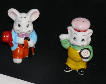 Cat and Mouse Salt and Pepper Shakers - Ceramic
