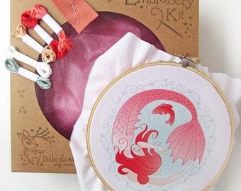 Mermaid Circle DIY Hand Embroidery Kit Sampler in the Hoop art embroidery pattern designs