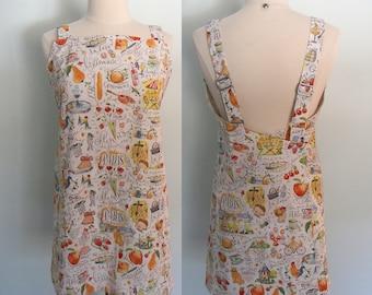 Paris Apron, Japanese Style Apron with Pockets, Wrap Apron, Pinafore, Cross Back Apron Dress, Crossback Apron,  Adjustable, Overlapping Back