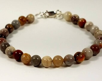 Laguna Lace Agate Stone Bracelet with Sterling Silver Lobster Claw Clasp