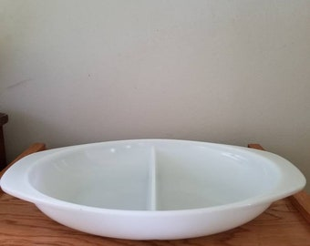 Vintage Pyrex white divided casserole dish
