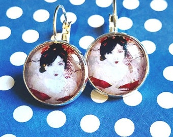 Japanese Geisha cabochon earrings - 16mm