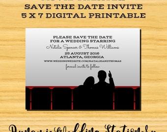 Movie Theater Save the Date DIY Digital Printable Invite
