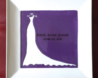 Bridal Shower Guest Book Plate-Bride shower gift-Shower guestbook- Wedding shower signature plate-keepsake-wedding plate- gown