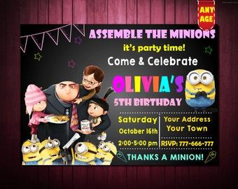 Minion Invitation,Minions Party Invitations,Minions Birthday Invitation,Minions Despicable Me Invitation,Despicable Me Invitations Printable