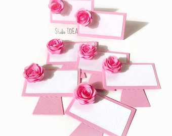 Set of 24 Pink 3D Rose Place Cards, Table Decoration- or Choose Your Colors - Set of 24 pcs