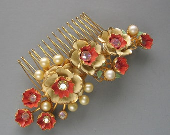 RESERVED - Coral Floral Hair Comb - Vintage Enamel Flowers with Pearl and Crystal Accents