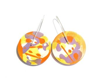 Jackson Pollock Inspired Paint Splattered Yellow/Orange/Purple Earrings