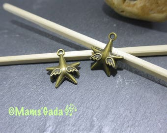 Set of 2 charms / pendants / charms star with wings Metal color Bronze REF:B / 81