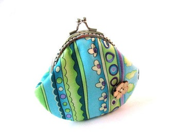 Snap coin purse blue green frame pouch, change purse, snap coin pouch, metal kiss lock clasp purse, fabric frame bag