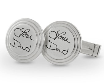Personalized Wedding - Handwriting signature cuff links - memorial engraved round cuff links (up to 10 letters)