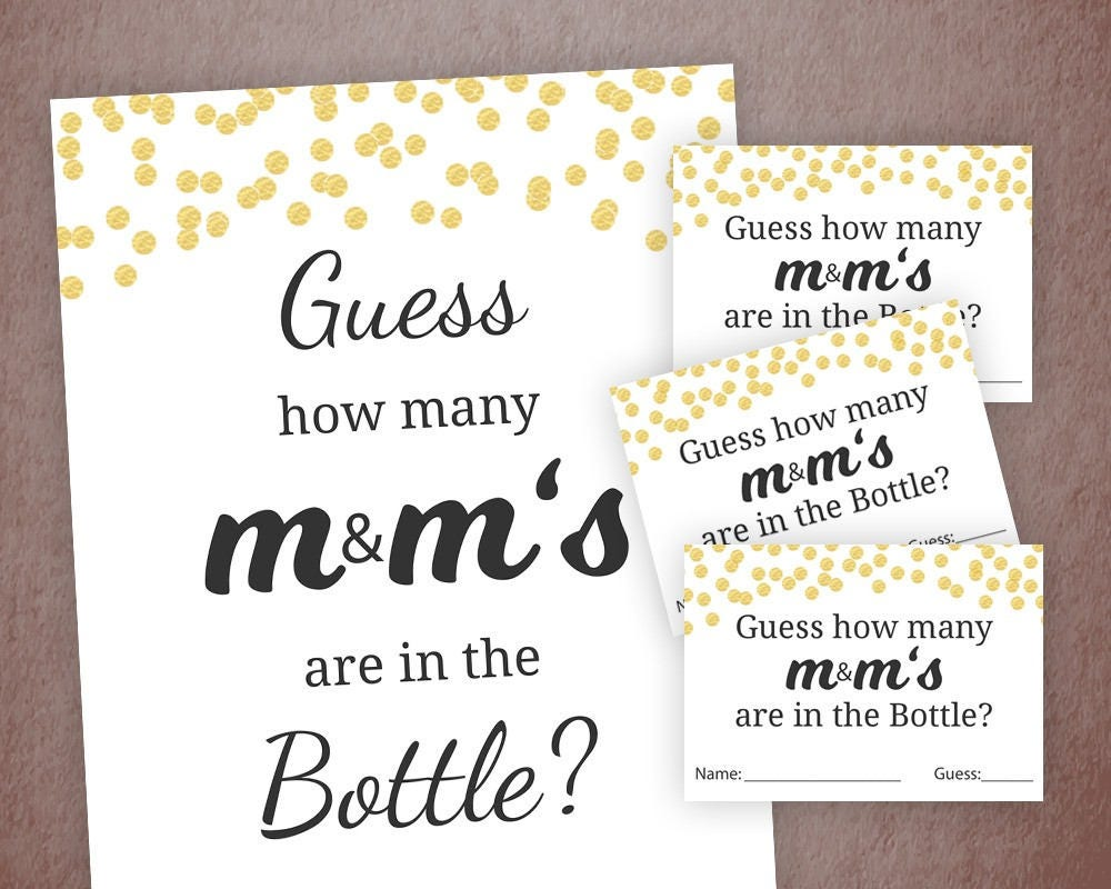Guess How Many M&M\'s Game Printable Baby Shower Games