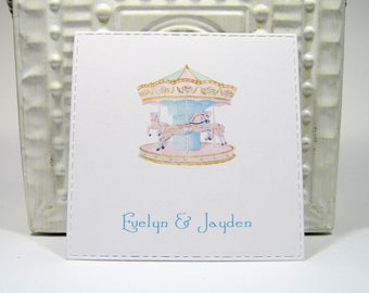 Carousel Personalized Enclosure Cards - Gift Card - Calling Cards - Set of 24 - Siblings - Kids - Flat - One sided - Embossed edge