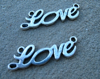 Silver Love Connector Charms, 20mm, 5 pcs
