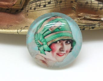 2 cabochons glass face Retro woman Green 20 mm - 20 mm