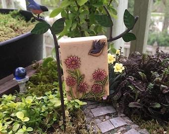 SALE Mini Robin Garden Flag with Post, Mini Sign, Metal Holder, Fairy Garden Accessory, Miniature Garden Decoration, Post and Flag Set