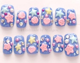 Deco nails, 3D nail, kawaii nail, blue nail, Harajuku, lolita fashion, sweet lolita, fairy kei, pastel fashion, Japanese nail art, star
