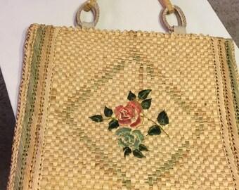 Vintage straw bag made in Italy for Karen Sawyer Vintage Purse