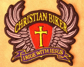 CHRISTIAN BIKER Vest Embroidered Patch, motorcycle,religious, Jesus, New for jacket, hat, vest