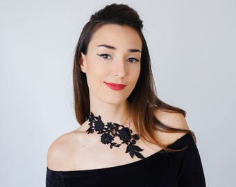 Vintage Gift Statement Necklace Black Necklace Lace Necklace Anniversary Gifts For Bride Girlfriend Gift For HerCustom/ LASATA