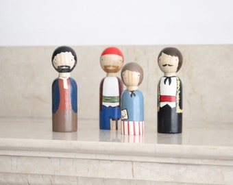 Wooden Peg Dolls // Treasure Island Dolls // Literary Gifts, Educational Toys // Great Books Collection