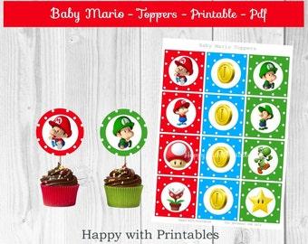 Super Mario Bros Cupcake Toppers