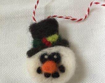 Handmade needle felted snowman ornament