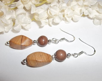Bohemian Brown Earrings Dangle Boho Beaded Stone Bead Sterling Silver Ear Wires Gift For Her Nature Inspired Style Look Present wvluckygirl