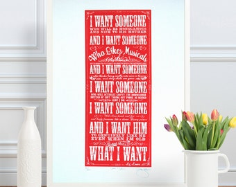Liz Lemon 30 Rock What I Want Hand Pulled Limited Edition Screen Print