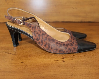 SALVATORE FERRAGAMO Women's Leather And Suede Slingback Shoes with Leopard Print - Size 8 US/Canada - Made in Italy