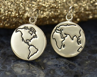 Sterling Silver Etched Globe Charm-World