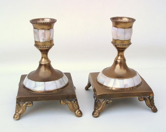 Vintage Brass Candlesticks | Brass Candle Holders | Mother of Pearl | Metal Candle Holders | Table Light