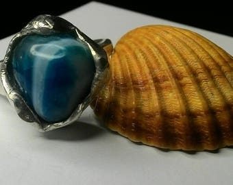 Ring in silver 925, blue streaked agate stone, shaped and polished by hand, adjustable