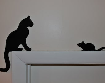 Cat and Mouse - door toppers or shelf displays, finish and color can be customized. Solid wood, made to stand on shelf or door trim.