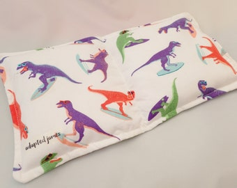 400g Orange Purple and Green Surfing Dinosaurs Weighted Lap Pad Double Sided. Autism ADHD SPD sensory, for concentration or anxiety