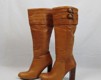 Vintage Tan Leather Knee High Buckle Boots