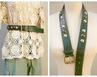 70s studded leather belt / khaki olive green / chunky boho belt / OOAK 31 inches small medium