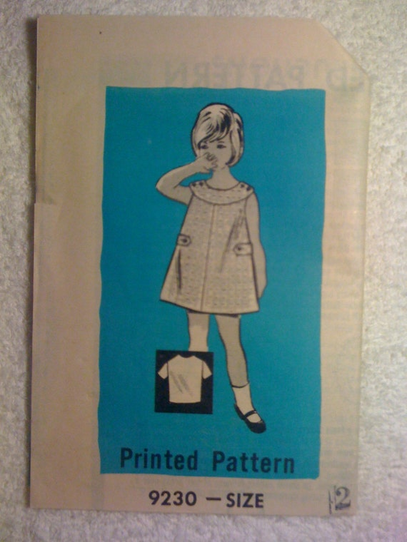 Marian Martin Mail Order Sewing Pattern 9230 Vintage 60s Girls Blouse and Dress or Jumper Size 2