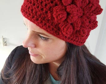 Red Crochet hat with flower