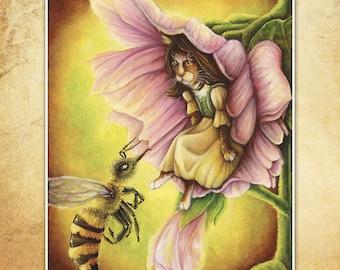 Thumbelina Cat Portrait, Fairy Tale Art, Feline, Flower, Bee, 8x10 Archival Reproduction Print