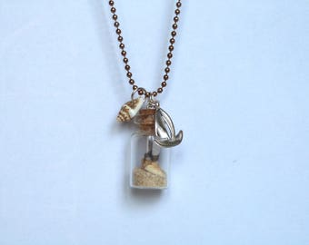 Sailboat, shell, whimsical jewelry, vial necklace vial necklace