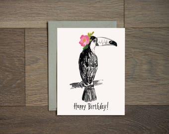 Happy Birthday card - toucan card - illustration - flower art - hand lettering