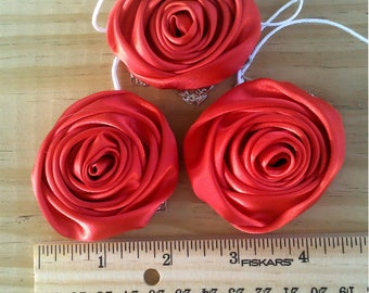 """Handmade Large 2"""" Red Satin RIBBON ROSES Christmas Tree Ornaments, 3 each, with hangers, Ln1005, Package adornments, Wall Hanging, by Lynn"""